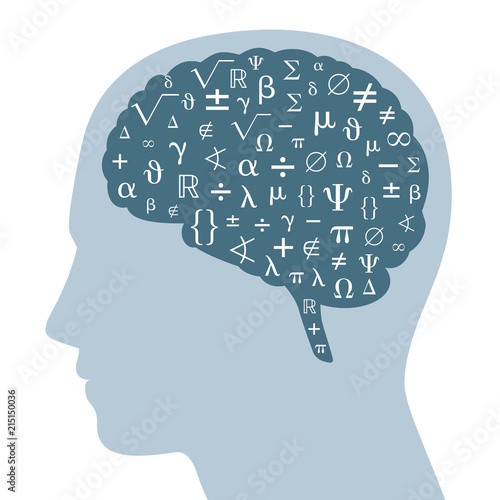 Photo  Mathematical symbols in a dark gray brain and silhouette of a head