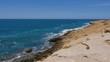 Turquoise water of Mediterranean sea on coast in Monastir city, Tunisia