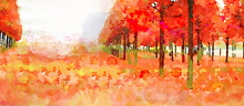 In The Park. Autumn Watercolor Background.