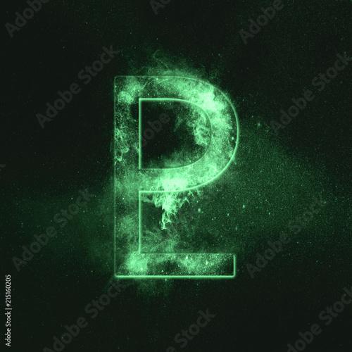 Planet Pluto Symbol. Pluto sign. Green symbol Canvas