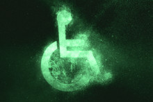 Wheelchair Sign, Disabled Symbol. Green Symbol