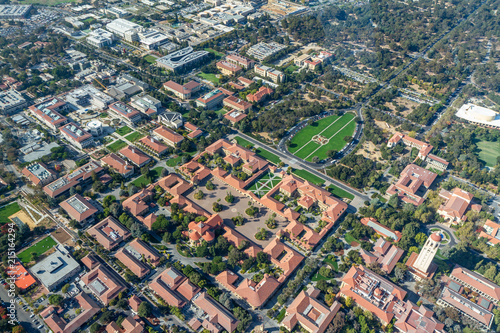 Photo Aerial View of Stanford University Campus Oval and Quad, Palo Alto, California