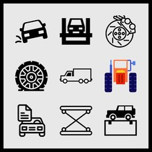 Simple 9 Icon Set Of Car Relat...