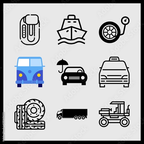 Fényképezés  Simple 9 icon set of car related car with umbrella, logistics truck, inflate wheel and ship vector icons