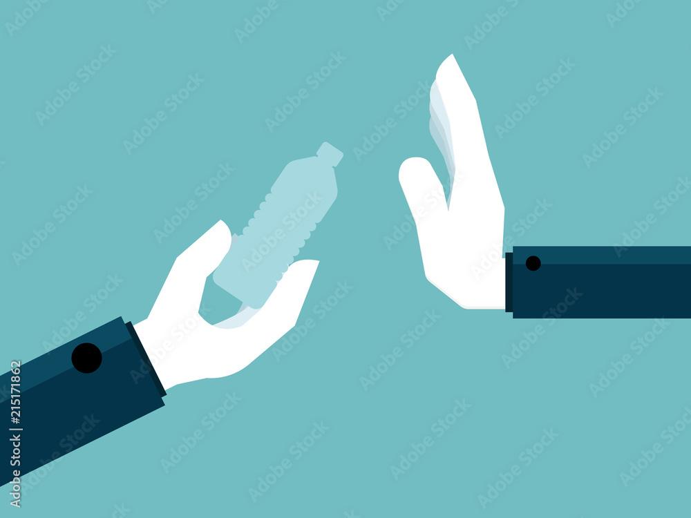 Fototapeta hand say no to plastic bottle