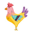 cute rooster farm animal icon
