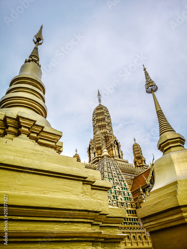 Deurstickers Bedehuis Golden buddhist temple with stupa, replica of an ancient thai temple in Ancient City at Muang Boran in Thailand, Buddhavas of the Substanceless Universe