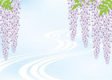 藤の花と流水の背景素...