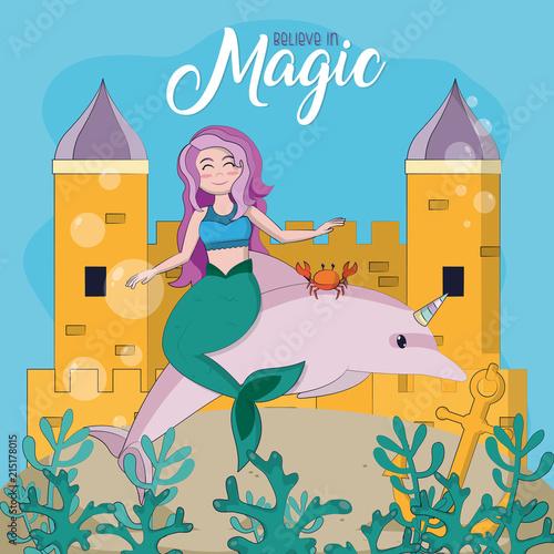 Obraz na plátne Beautiful and magic mermaid cartoon