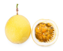 Yellow Passion Fruit With Leaf On White Background