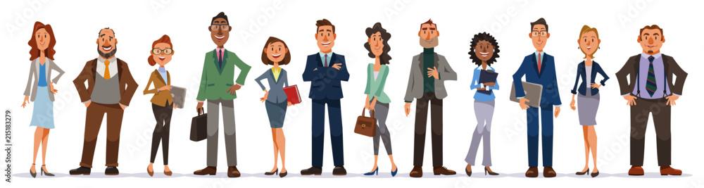 Fototapety, obrazy: オフィスで働く人々のセット。男女の会社員たちが笑顔で立つ全身像。