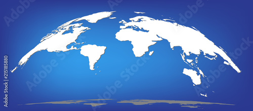 Staande foto Wereldkaart White world map silhouette dome semisphere with shadows isolated on blue background, flat style sps 10 vector illustretion.