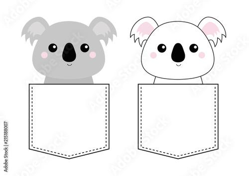 Fototapeta premium Miś koala włożył głowę do kieszeni. Doodle szkic liniowy. Postać z kreskówki ładny. Projekt koszulki. Linia przerywana. Zwierzak domowy. Kolor białoszary. Tło dla dzieci. Płaska konstrukcja