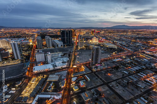 Las Vegas downtown with the glow of traffic at dusk