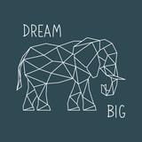 Polygonal Elephant Print with lettering. Scandinavian style poster. Geometric vector illustration. - 215188493