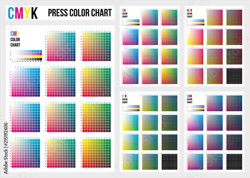 CMYK press color chart. CMYK process printing match. Cyan, magenta ...