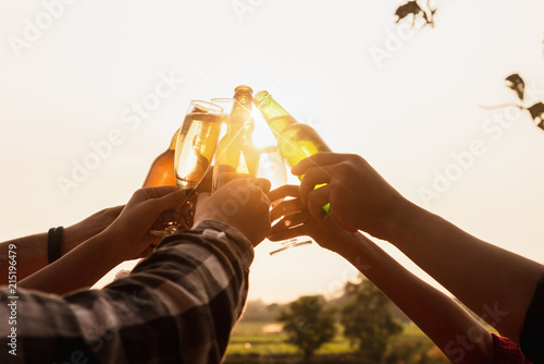Fotografija Six young entrepreneur gathering together toast for success in business start up