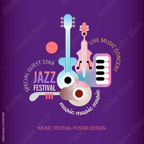 Staande foto Abstractie Art Jazz Festival poster design