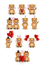 Big Set With Cute Teddy Bears. Funny Cartoon Animal. Design Element For Greeting Cards