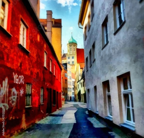 hand-drawing-watercolor-art-on-canvas-artistic-big-print-original-modern-painting-acrylic-dry-brush-background-bright-european-street-full-of-wonderful-life