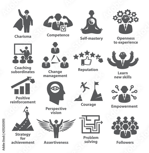 Fotografie, Obraz  Business management icons Pack 45 Icons for leadership, idol, career