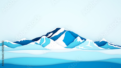 Poster de jardin Bleu clair Ice mountain background for artwork - Winter season - Paper cur style or craft style - 3D Illustration