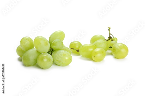 Fényképezés  White grapes isolated on white background
