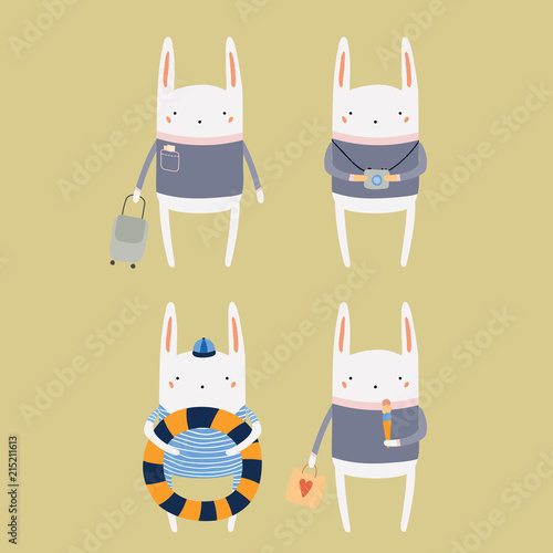 Printed kitchen splashbacks Illustrations Hand drawn vector illustration of cute funny bunny on summer holidays. Isolated objects. Scandinavian style flat design. Concept for children print.