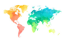 Color Circles World Map Pattern