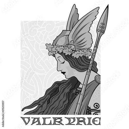 Photo  Valkyrie, illustration to Scandinavian mythology, drawn in Art Nouveau style