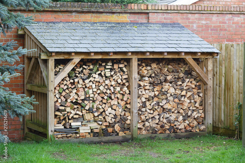 Canvas Print Log store with firewood