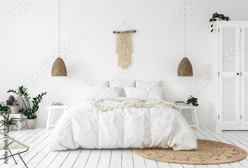 Photo  Scandi-boho style bedroom, 3d render