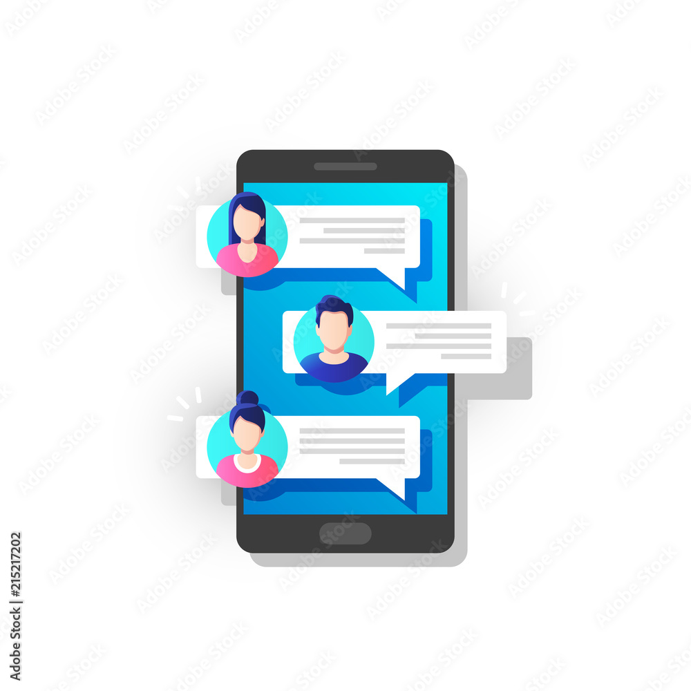 Fototapeta People chatting on mobile. Chat notification on phone, messages bubbles on screen with avatars. Vector illustration.