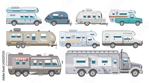 Foto Caravan vector rv camping trailer and caravanning vehicle for traveling or journ