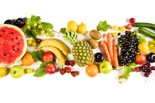 Assorted Fruits On Isolated Ba...