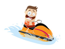 Funny Cartoon Man Riding A Jet...