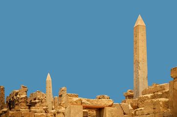 Ancient Obelisk with hieroglyphs at Karnak Temple, Egypt, Luxor