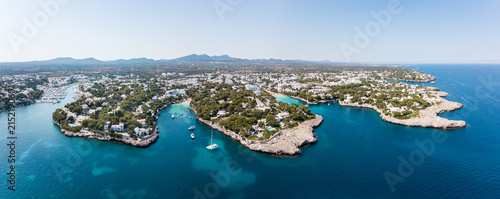 Aerial: Cala D'Or resort town in Mallorca, Spain
