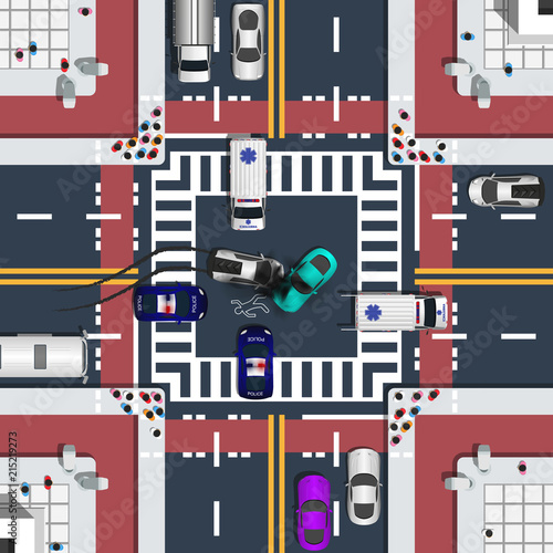 Car accident and traffic jam top view concept. View from above cityscape includes such elements as four way road, crossroad and bike lanes vector illustration.