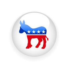 Round Badge With Democratic Do...