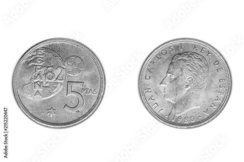 Moneda de 5 pesetas del mundial de fútbol 82 Billede på lærred