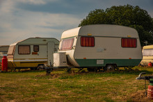 Retro Caravans In A Field