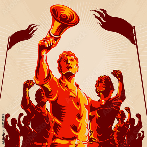 Crowd protest fist revolution poster design Wallpaper Mural