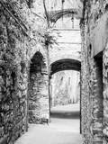 Malownicza średniowieczna wąska ulica San Gimignano stary miasteczko, Tuscany, Włochy. Obraz czarno-biały. - 215227264
