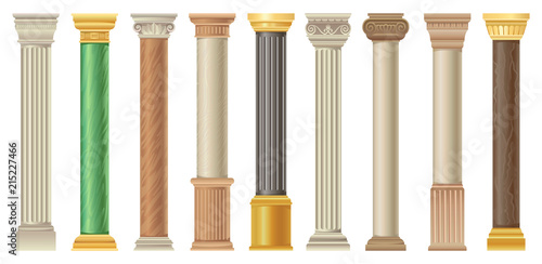 Fotografía  Antique columns and pilars set, classic stone columns in different styles vector