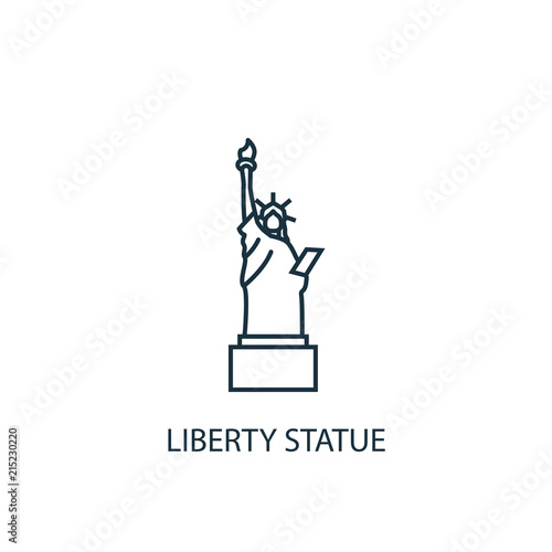 Fototapeta Liberty statue concept line icon. Simple element illustration obraz