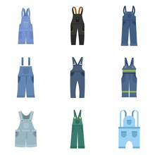 Overalls Workwear Icons Set. F...