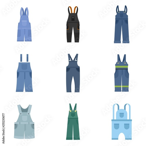 Overalls workwear icons set. Flat illustration of 9 overalls workwear vector icons isolated on white Wall mural