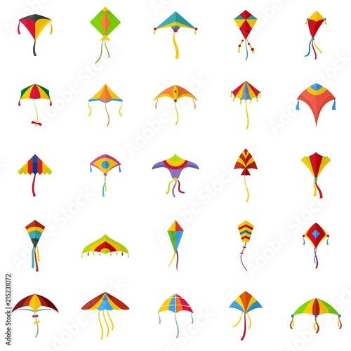Kite flying festival surf icons set Canvas Print