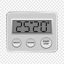Digital Timer Mockup. Realistic Illustration Of Digital Timer Vector Mockup For On Transparent Background